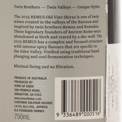 Sons of Eden - Remus Old Vine Shiraz 2015